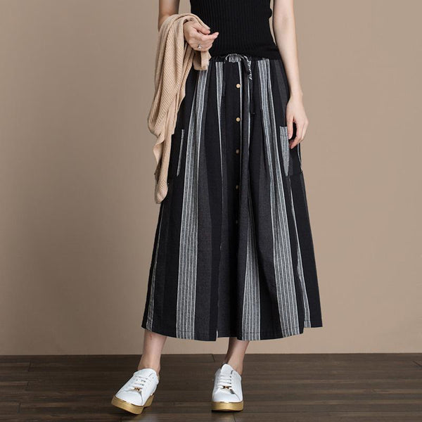 Autumn Vertical Stripes Stitching Skirt September 2020 new arrival ONE