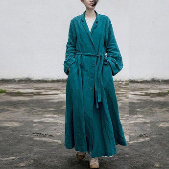 Autumn Vintage Long Section Loose Linen Robe Feb 2021 New-Arrival M Blue-Green