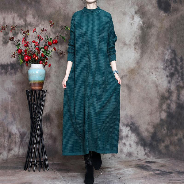Autumn Winter Basic Knitted Sweater Dress Jan 2021-New Arrival One Size Green