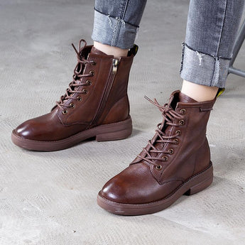 Autumn Winter Cowhide Women Martin Boots July 2020-New Arrival Brown 35
