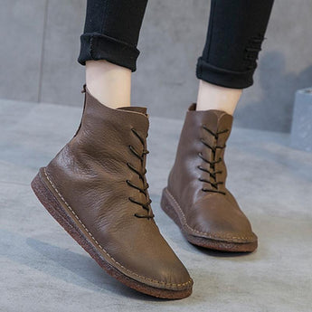 Autumn Winter Original Handmade Female Leather Women Boots 2019 March New 35 Coffee