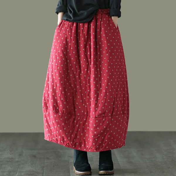 Autumn Winter Retro Cotton Linen Quilted Skirt Nov 2020-New Arrival