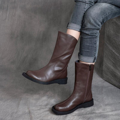 Autumn Winter Retro Leather Mid-tube Short Boots Jan 2021-New Arrival 35 Dark Brown