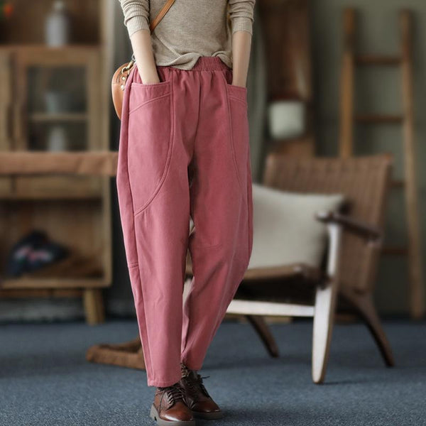 Autumn Winter Retro Plush Women's Harem Pants Nov 2020-New Arrival One Size Pink