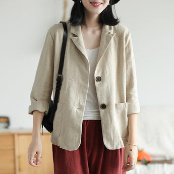 Autumn Women Ramie Short Blazer Coat July 2020-New Arrival One Size Beige