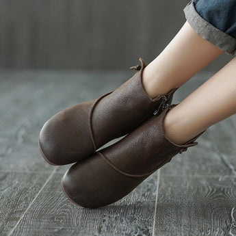 Autumn Zipper Retro Casual Leather Shoes Shoes 38 coffee