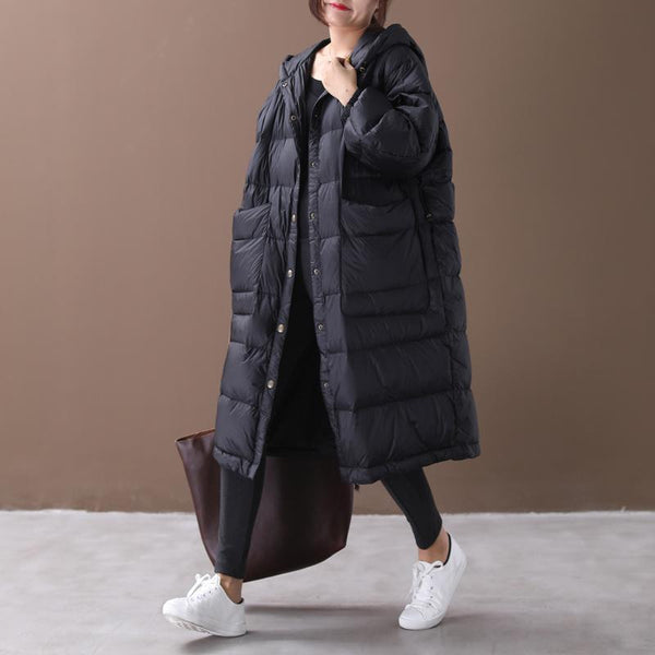 BABAKUD Anti-Season Winter Loose Large Hooded White Goose Down Jacket Coat 2019 August New M Black