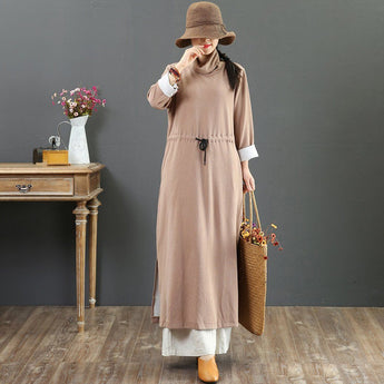 BABAKUD Autumn Casual Cotton Women's Long Sleeve Dress 2019 September New L Khaki