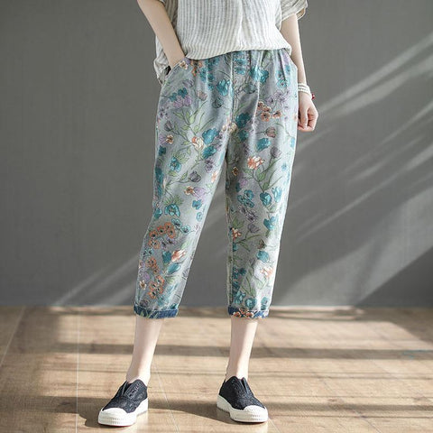 BABAKUD Autumn Casual Printing Loose Retro Jeans Women 2019 September New L Light Blue