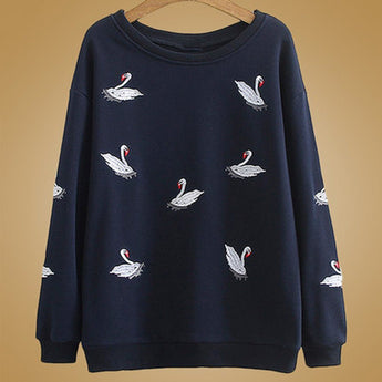 Babakud Autumn Crane Embroidery Loose Sweatshirt 2019 September New