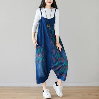 BABAKUD Autumn Denim Bib Loose Hanging Retro Printed Skirt Jumpsuit 2019 August New One Size Deep Blue