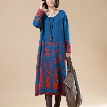 BABAKUD Autumn Large Size Long Sleeve Retro Print Vintage Sweater Dress 2019 September New One Size Blue