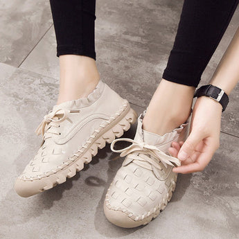 BABAKUD Autumn Leather Women's Casual Shoes 2019 October New 35 Beige