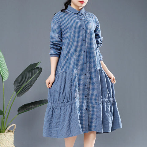 BABAKUD Autumn Loose Casual Linen Gathered Long Sleeve Dress 2019 August New One Size Blue