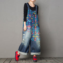 BABAKUD Autumn Loose Washed Hole Printing Wide Leg Vintage Denim Jumpsuit 2019 September New One Size Blue