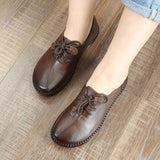 BABAKUD Autumn Real Leather Bottom Laced Vintage Women's Shoes 2019 September New