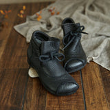 BABAKUD Autumn Retro Ethnic Leather Women's Ankle Boots 2019 September New 35 Black