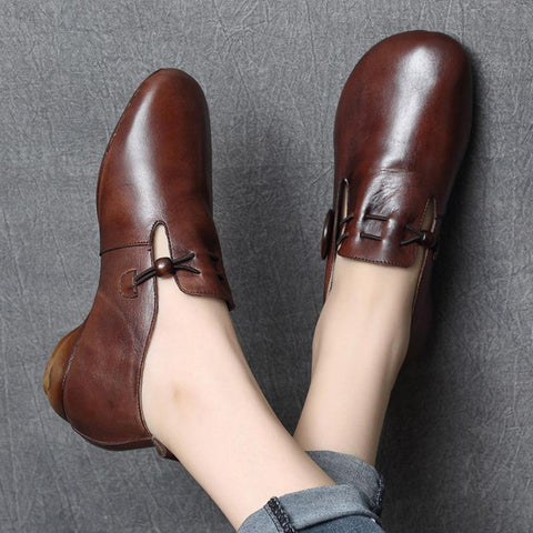 BABAKUD Autumn Retro Leather Casual Women's Shoes 2019 September New 35 Brown