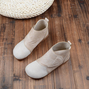 BABAKUD Autumn Retro Round Head Women's Casual Boots 2019 October New 35 Beige