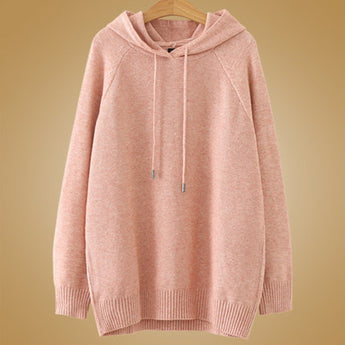 Babakud Autumn Solid Knitted Hoodie Women 2019 September New 3XL Pink
