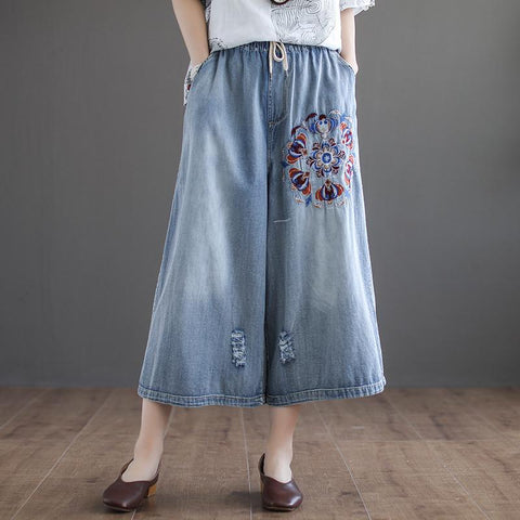 BABAKUD Autumn Vintage Embroidered Washed Holes Cropped Denim Pants 2019 August New L Blue