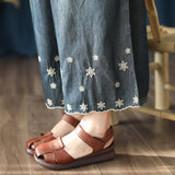 BABAKUD Autumn Vintage Embroidered Wide-Leg Thin Casual Denim Pants 2019 August New