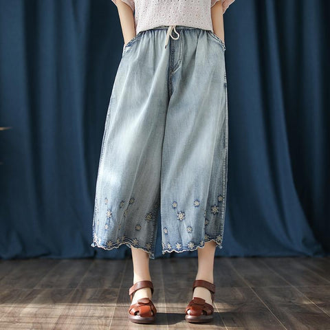 BABAKUD Autumn Vintage Embroidered Wide-Leg Thin Casual Denim Pants 2019 August New One Size Blue