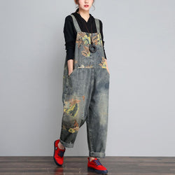 BABAKUD Autumn Winter Denim Loose Retro Printing Thin Jumpsuit 2019 November New One Size As the picture