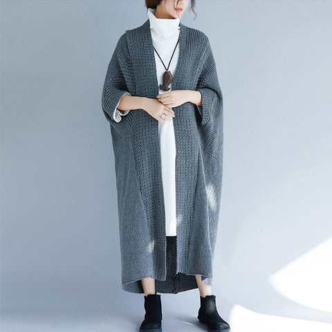 BABAKUD Autumn Winter Loose Women's Sweater Cardigan 2019 September New One Size Gray