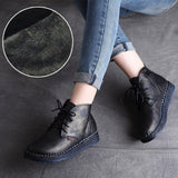 BABAKUD Autumn Winter Retro Handmade Boots Women 35-42 2019 August New 35 Black Plush