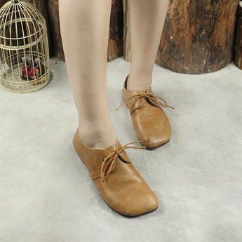 BABAKUD Autumn Winter Soft Bottom Leather Flats Comfortable 2019 October New 35 Camel