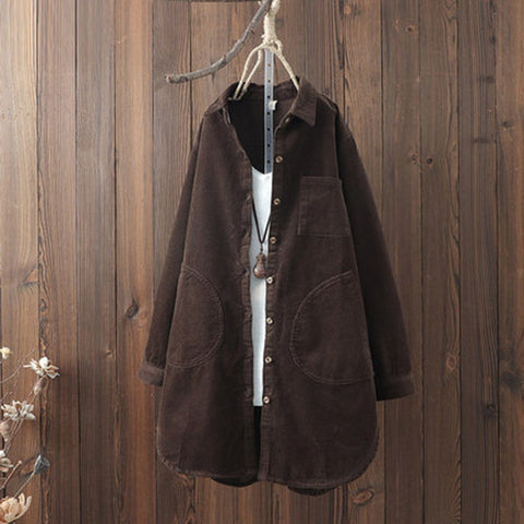 BABAKUD Autumn Winter Solid Turn Down Collar Loose Coat 2019 August New One Size Coffee