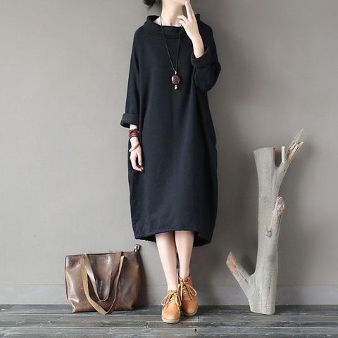BABAKUD Autumn Winter Velvet Thick Loose Retro Casual Dress 2019 August New One Size Black