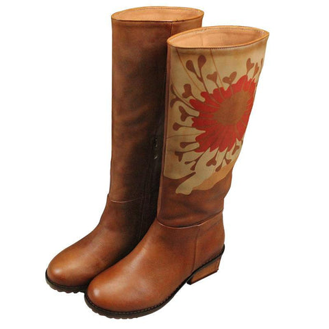 BABAKUD Autumn Winter Vintage Leather Printing High Boots 2019 October New 35 Camel