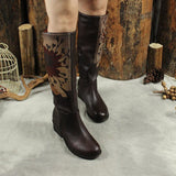 BABAKUD Autumn Winter Vintage Leather Printing High Boots 2019 October New 35 Coffee