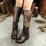 BABAKUD Autumn Winter Vintage Leather Printing High Boots 2019 October New