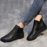 BABAKUD Autumn Winter Women's Flat Leather Soft Bottom Boots 2019 October New 35 Black