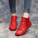 BABAKUD Autumn Winter Women's Flat Leather Soft Bottom Boots 2019 October New 35 Red