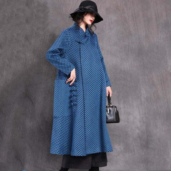 BABAKUD Autumn Winter Woolen Retro Buckle Loose Coat 2019 October New One Size Blue