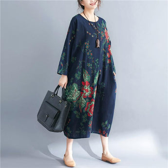 BABAKUD Autumn Women's Print Long Sleeve Retro Dress 2019 September New One Size As the picture