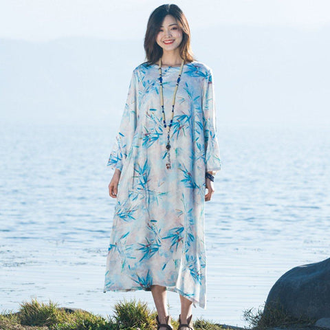 BABAKUD Bamboo Leaves Printed Loose Long Sleeve Dress 2019 August New M Sky Blue