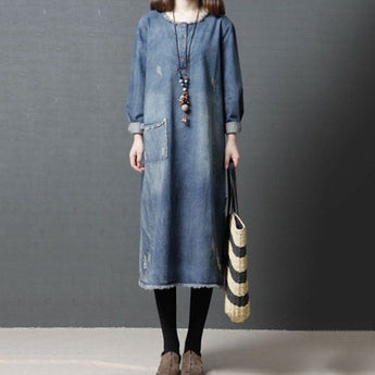 Babakud Burr Loose Round Neck Ragged Pocket Denim Dress Long Sleeve Dress M As the picture