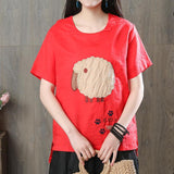Babakud Cartoon Animals Casual Linen T-Shirt 2019 Jun New One Size Red