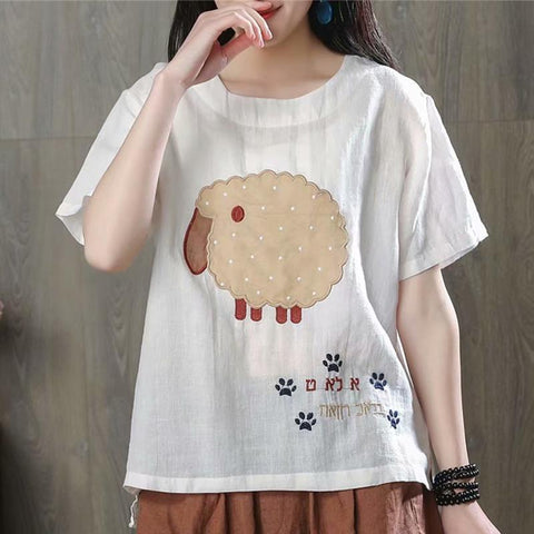 Babakud Cartoon Animals Casual Linen T-Shirt 2019 Jun New One Size White