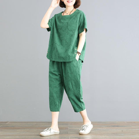 Babakud Casual Loose Buttoned Linen Set 2019 July New M Green