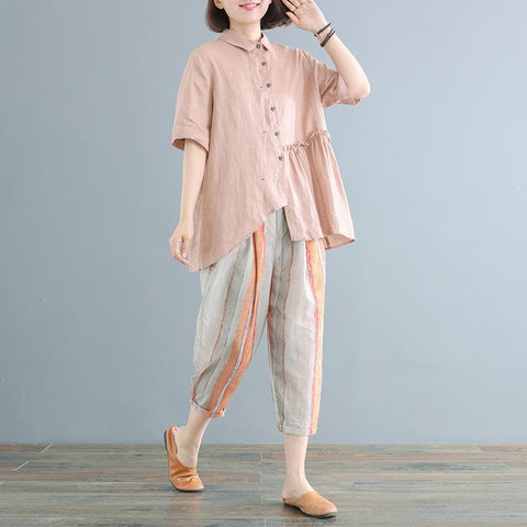 Babakud Casual Loose Irregular Gathered Gathered Stripes Set 2019 July New One Size Pink