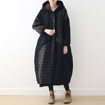 BABAKUD Casual Loose Palid Paneled Hooded Autumn Winter Coat 2019 August New One Size Black Gray