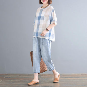 Babakud Casual Loose Plaid Pockets Set 2019 July New One Size Light Blue