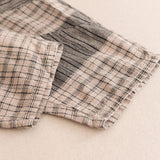 Babakud Casual Loose Plaid Ruched Wide Leg Set 2019 July New