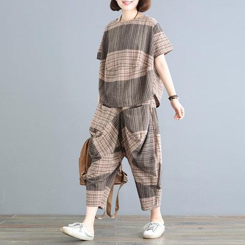 Babakud Casual Loose Plaid Ruched Wide Leg Set 2019 July New One Size Gray